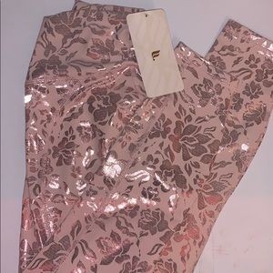 fabletic high waisted pink foil floral leggings